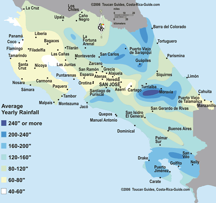 Map of climate zones in Costa Rica